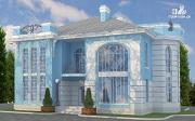 Проект загородная резиденция с балконом, двухсветной гостиной и парной
