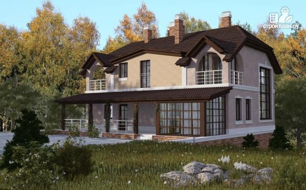 Фото: проект дом из газобетона с балконом, террасой и зимним садом