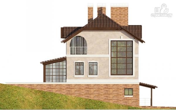 Фото 5: проект дом из газобетона с балконом, террасой и зимним садом