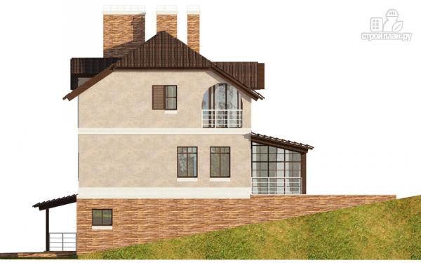 Фото 8: проект дом из газобетона с балконом, террасой и зимним садом