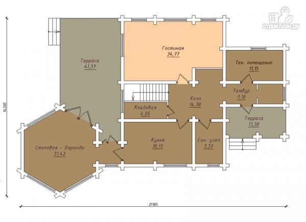 Фото 2: проект дом с большой террасой и столовой-верандой