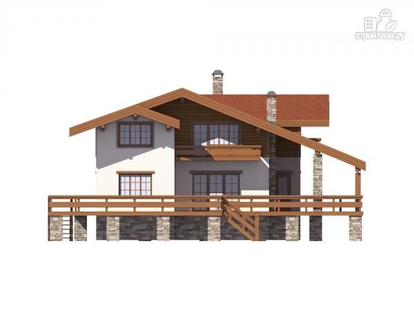 Фото 4: проект дом комбинированный, на высоком фундаменте и террасой вокруг