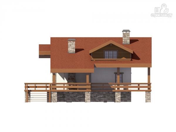 Фото 5: проект дом комбинированный, на высоком фундаменте и террасой вокруг