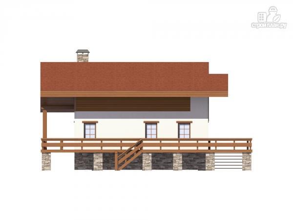 Фото 7: проект дом комбинированный, на высоком фундаменте и террасой вокруг