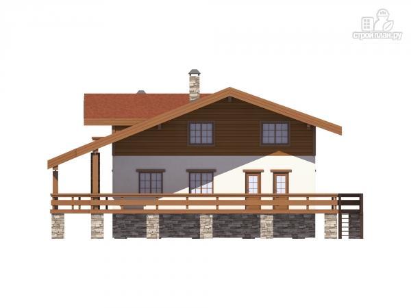 Фото 6: проект дом комбинированный, на высоком фундаменте и террасой вокруг