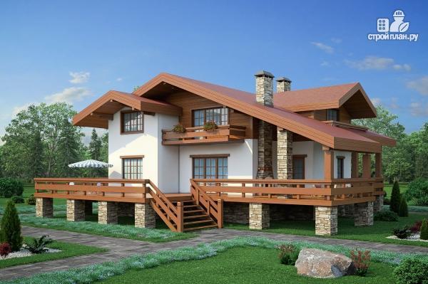 Фото: проект дом комбинированный, на высоком фундаменте и террасой вокруг
