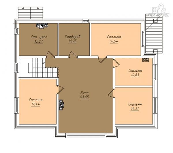 Фото 3: проект дом в полтора этажа с камином