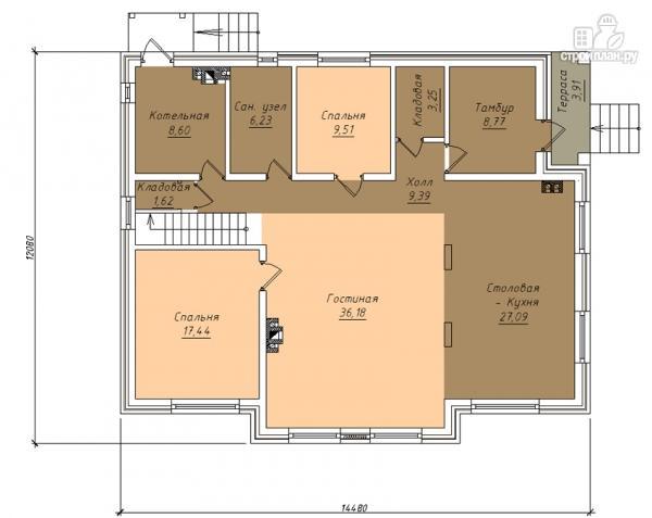 Фото 2: проект дом в полтора этажа с камином