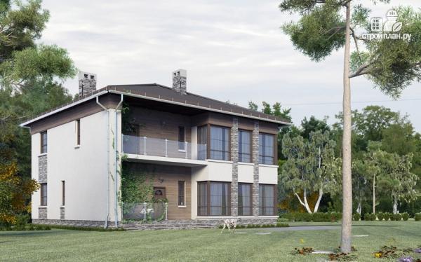 Фото: проект двухэтажный дом из газобетона с балконом и террасой
