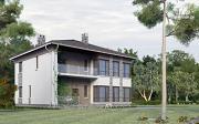 Фото: двухэтажный дом из газобетона с балконом и террасой