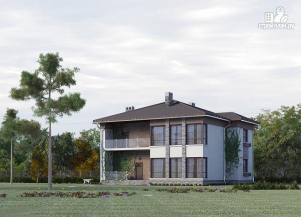 Фото 6: проект двухэтажный дом из газобетона с балконом и террасой