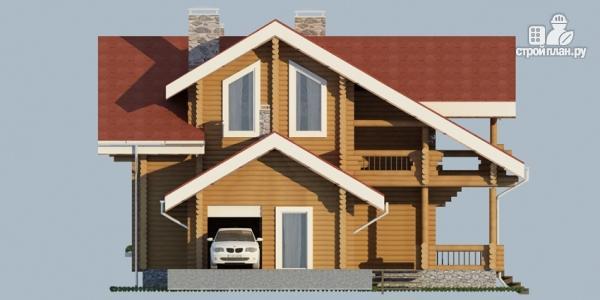Фото 6: проект деревянный дом с балконом, террасой и зимним садом