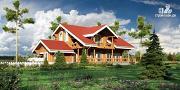 Фото: деревянный дом с балконом, террасой и зимним садом