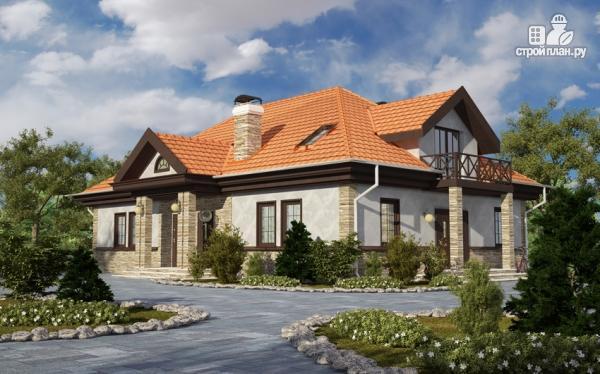 Фото: проект каркасный спаренный дом с террасами и балконами