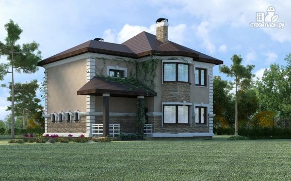 Фото 6: проект двухэтажный дом из газобетона с террасой и гаражом