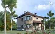 Проект двухэтажный дом из газобетона с террасой и гаражом