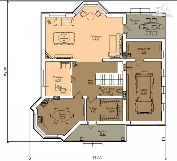 Фото 2: проект двухэтажный дом из газобетона с террасой и гаражом