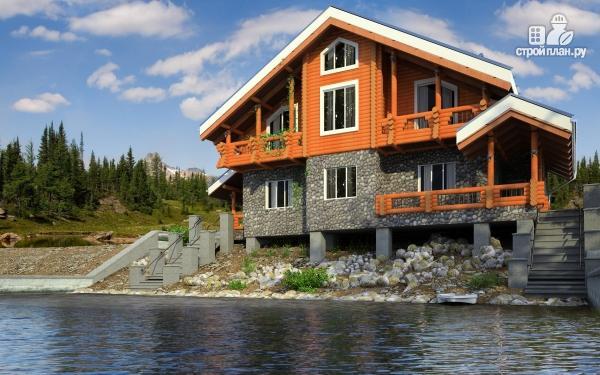 Фото: проект комбинированный дом с балконом, террасой и сауной