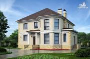 Фото: двухэтажный дом из газобетона с камином