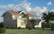 Проект загородный особняк с террасами на втором этаже