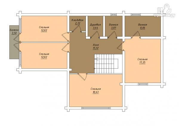 Фото 4: проект трёхэтажный комбинированный дом с террасами и балконом