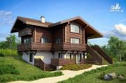 Фото: трёхэтажный комбинированный дом с террасами и балконом