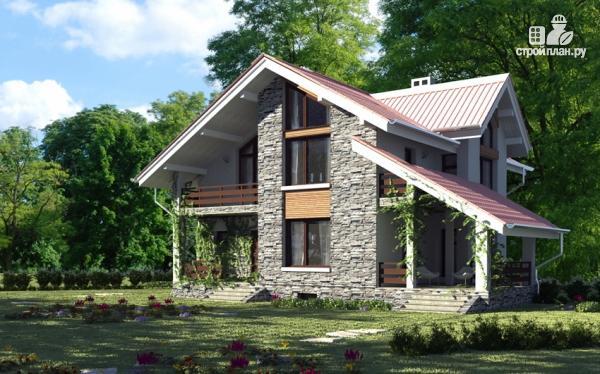 Фото: проект дом из газобетона с балконом и террасой