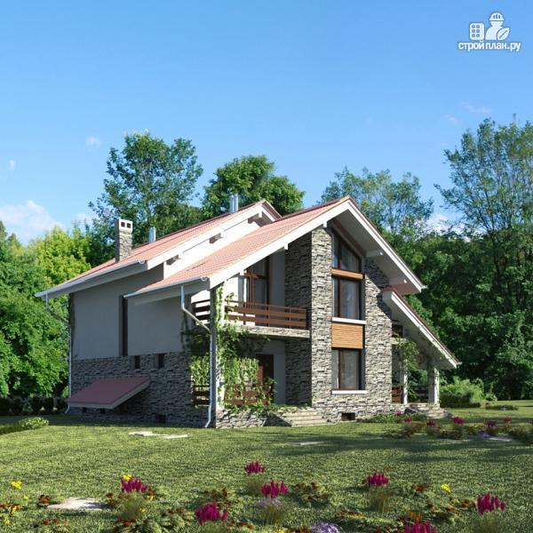 Фото 9: проект дом из газобетона с балконом и террасой