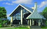 Проект дом из газобетона со вторым светом и террасой для барбекю