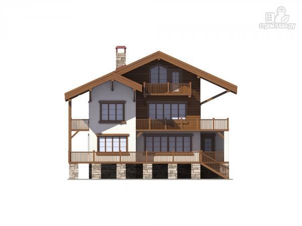 Фото 5: проект трехэтажный комбинированный дом с террасами и балконом