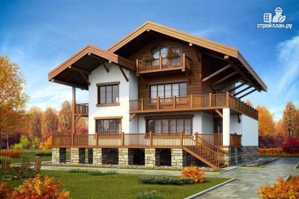 Фото: проект трехэтажный комбинированный дом с террасами и балконом