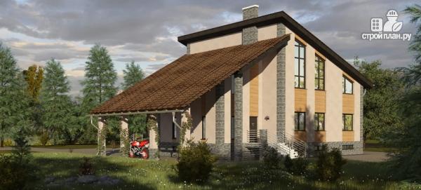 Фото: проект трехэтажный дом с сауной, гаражом и навесом для машины