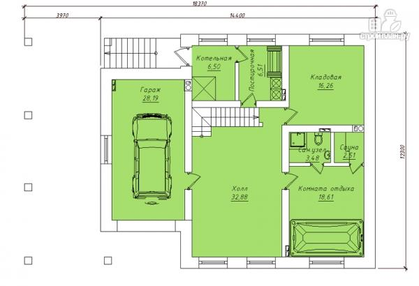 Фото 2: проект трехэтажный дом с сауной, гаражом и навесом для машины