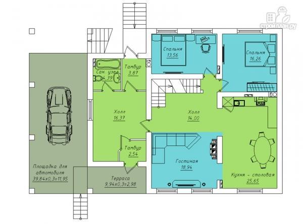 Фото 3: проект трехэтажный дом с сауной, гаражом и навесом для машины