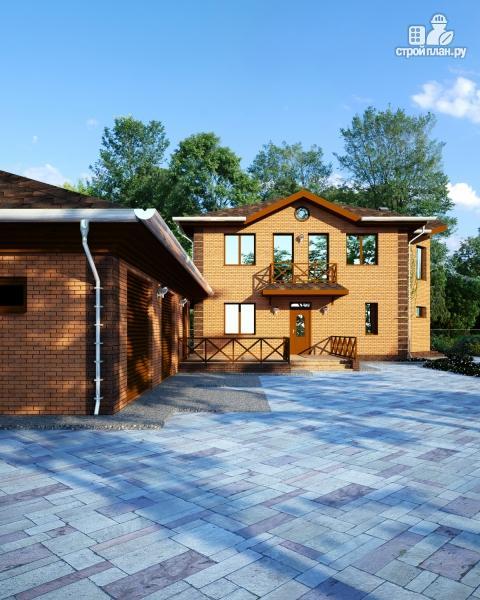 Фото: проект дом с большой террасой-барбекю и отдельным гаражом на две машины