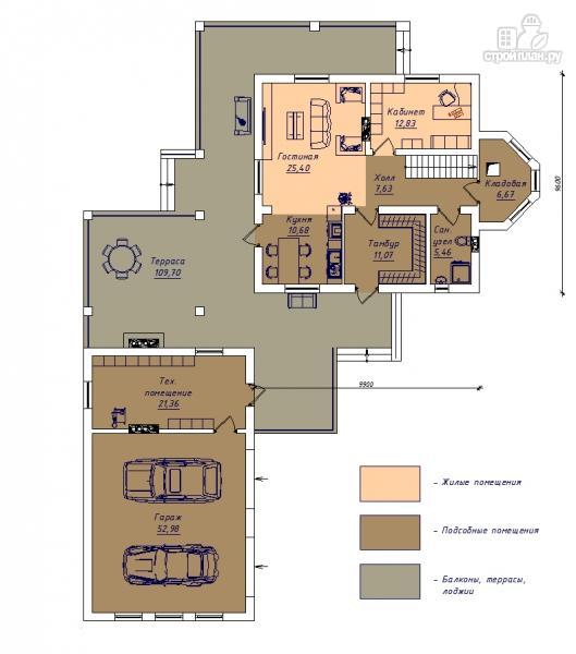 Фото 2: проект дом с большой террасой-барбекю и отдельным гаражом на две машины