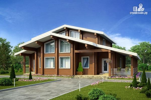 Фото: проект дом из клееного бруса с террасой и вторым светом