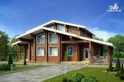 Фото: дом из клееного бруса с террасой и вторым светом