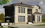 Проект двухэтажный дом с сауной хамам, террасой и вторым светом