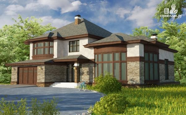 Фото: проект дом с гаражом, террасой и большой светлой гостиной