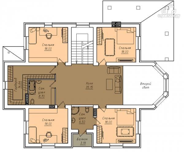 Фото 3: проект двухэтажный дом с двухсветной гостиной и эксплуатируемым чердаком