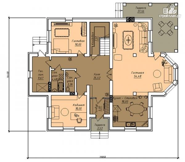 Фото 2: проект двухэтажный дом с двухсветной гостиной и эксплуатируемым чердаком