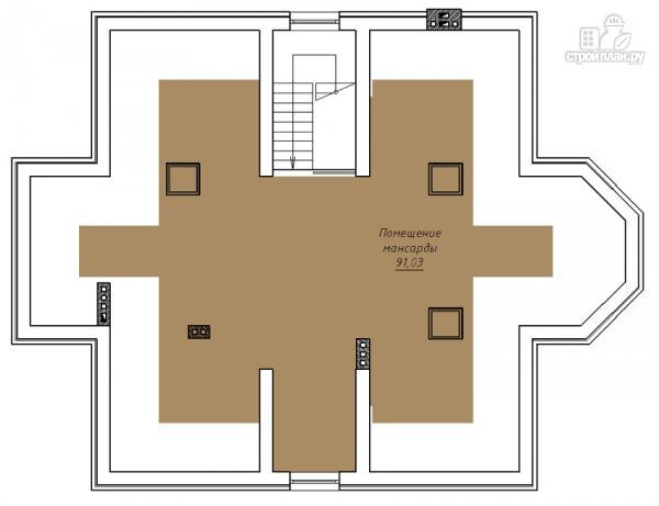 Фото 4: проект двухэтажный дом с двухсветной гостиной и эксплуатируемым чердаком