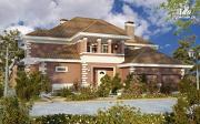 Проект двухэтажный дом с  террасой, балконом и сауной