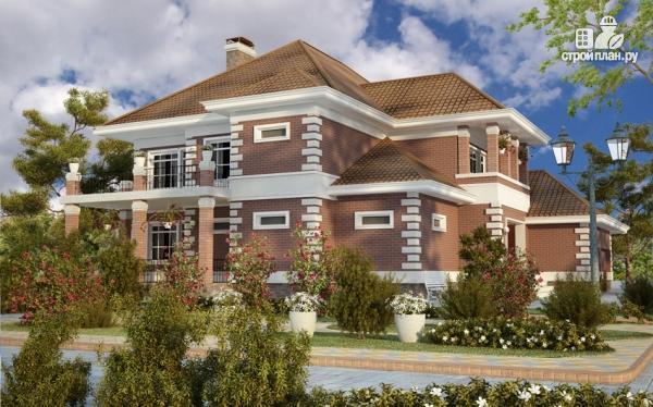 Фото 8: проект двухэтажный дом с  террасой, балконом и сауной