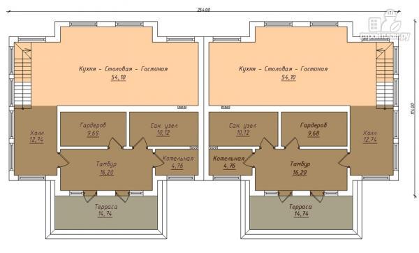 Фото 2: проект спаренный дом с балконами и террасами