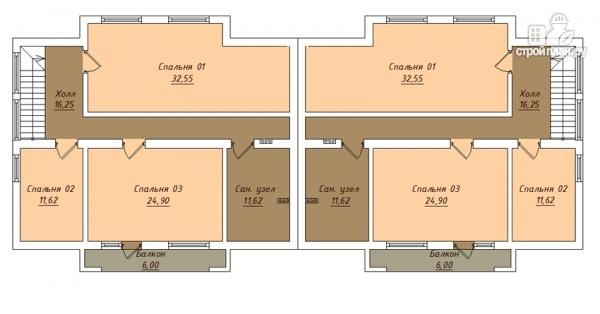 Фото 3: проект спаренный дом с балконами и террасами
