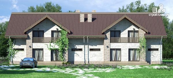 Фото: проект спаренный дом с балконами и террасами