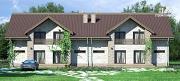 Проект спаренный дом с балконами и террасами