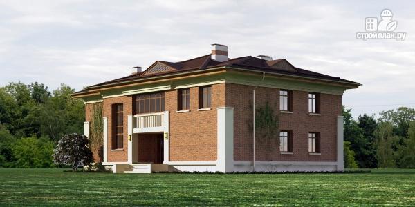Фото 3: проект двухэтажный дом из газобетона с террасой и зимним садом